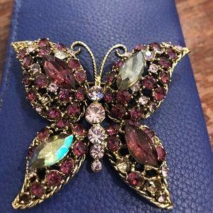 Beautiful butterfly multi colored rhinestone pin